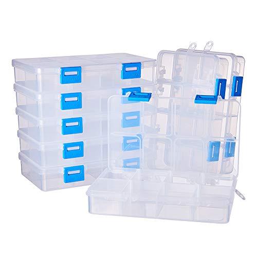 BENECREAT 8 Pack 8 Compartimientos Caja Ajustable de Plástico Contenedor de Almacenamiento para Joyas, Aretes, Abalorios, Pastillas, Piezas de Metal