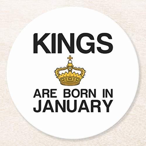Posavasos para bebidas, base de corcho, juego de 4 posavasos redondos Kings are Born in January