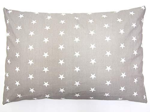BALBINA Kinder Kopfkissen-Bezug Kissenhülle Baumwolle Deko Muster (Sterne Grau, 40x60 cm)