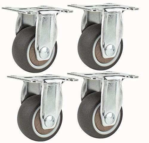 Ruedas giratorias echador de los muebles, de goma Transporte ruedas, ruedas de goma con rodamientos, Presidente de la carretilla ruedas con frenos de ruedas, colchones ( Size : 4 Straight Casters )