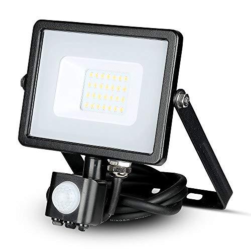 V-TAC VT-20-S-W, Faro LED Chip Samsung 20W con Sensore di Movimento e Crepuscolare e Interruttore Manuale di Bloccaggio Colore Nero 6400K IP65