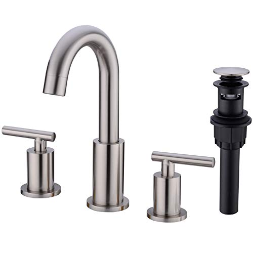TRUSTMI 2-Handle 8 inch Widespread Bathroom Sink Faucet with Pop Up Drain Assembly and cUPC Water Supply Hoses, Brushed Nickel