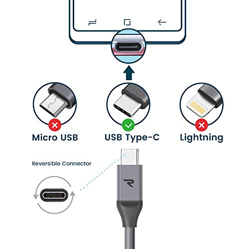 Rampow USB C Ladekabel, USB C Kabel auf USB 2.0 - 2 Meter/2-Stücke - Schnelles Aufladen - Aluminum USB Typ C Kabel Kompatibel mit Galaxy Note 8, HTC 10, Google ChromeBook, GoPro und Mehr - Grau