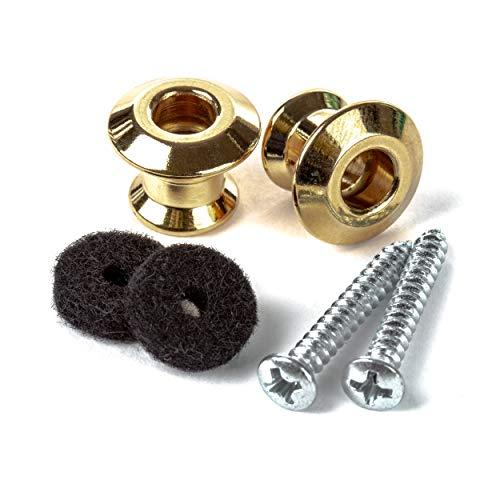 Jim Dunlop Straplok Dual Design Strap Button Set-Gold-2/Set (2PSLS034G)