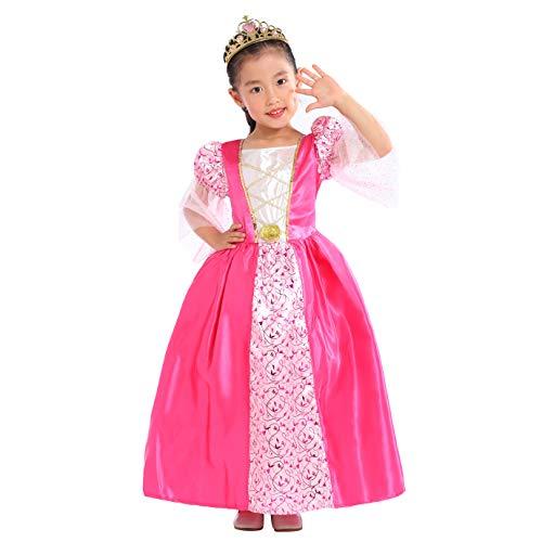 Sincere Party Mädchen Rosa Mittelalter Prinzessin Kleid mit Tiara 7-8Jahre