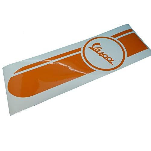 Vespa V50 PK PX GL GT Banner Aufkleber Beinschild in orange, Ersatzteil Sticker oder als Tank Schriftzug Dekor. Zum Oldtimer Restaurieren von Lack und Verkleidung. Alternativ zum Motorrad Emblem