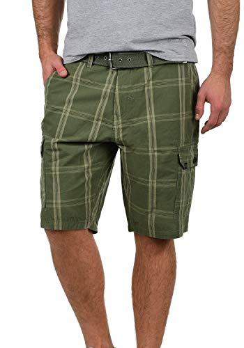 Blend Hans Herren Cargo Shorts Bermuda Kurze Hose Mit Gürtel Aus 100% Baumwolle Regular Fit, Größe:L, Farbe:Dusty Green (70595)