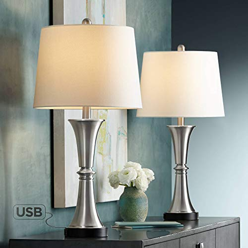 Seymore Modern Contemporary Touch Table Lamps Set of 2 with USB Port LED Silver White Drum Shade for Living Room Bedroom House Bedside Nightstand Home Office Reading Family - 360 Lighting