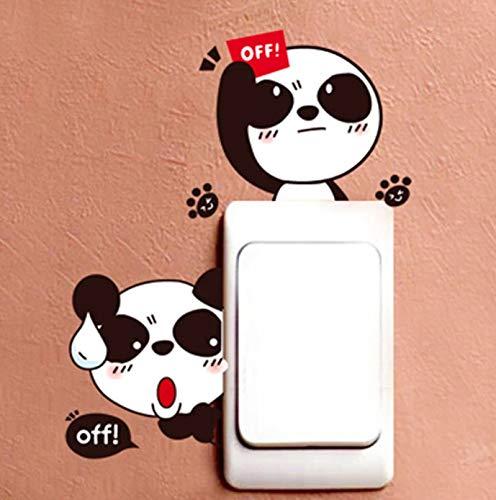 Dibujos animados lindo encantador negro blanco panda interruptor de enchufe etiqueta de la pared calcomanías de vinilo decoración del hogar pegatinas de animales en la pared extraíble