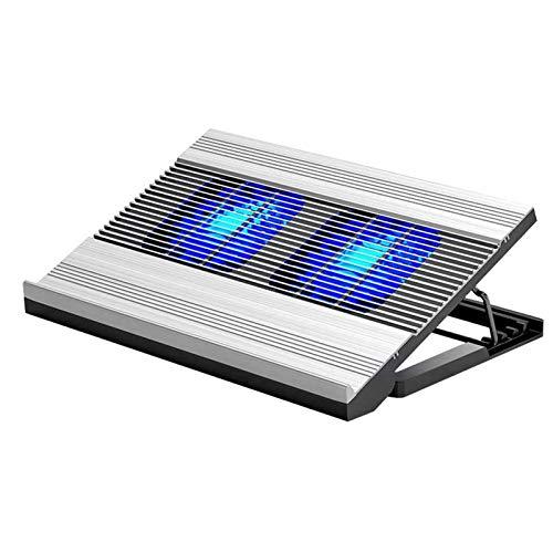 Adesign Almohadilla de enfriamiento portátil con 2 Ventiladores para Laptop de hasta 17 Pulgadas, Almohadilla refrigerante, 2 Puertos USB Dual y ángulo de Altura de Soporte de Montaje Ajustable