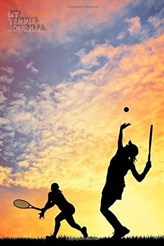 MY TENNIS JOURNAL LINED NOTEBOOK: 6x9 inch daily bullet notes on college style lines with beautiful tennis game player in sunset cover perfect present idea for playing women and men