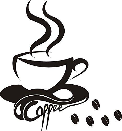 Wandtattoo wandaufkleber Aufkleber Wandsticker wall sticker Wohnzimmer Schlafzimmer Kinderzimmer Kueche Schriftzug CAFE COFFEE KAFFEE 30 Farben zur Wahl cafe02 (080 kaffeebraun, Size 1:ca.5x6cm(ohne Kaffeebohnen u.Schrift))