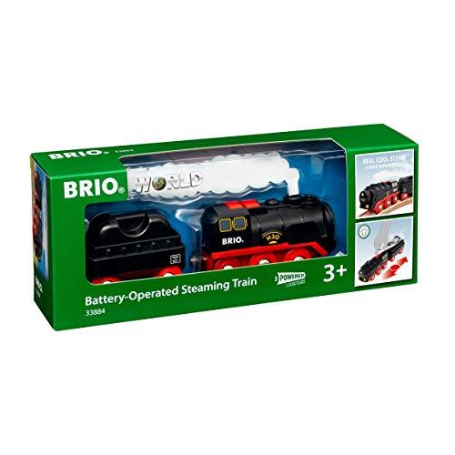 BRIO World 33884 Batterie-Dampflok mit Wassertank - Lokomotive mit echtem kühlen Dampf und Wasserbehälter zum Nachfüllen - Empfohlen ab 3 Jahren
