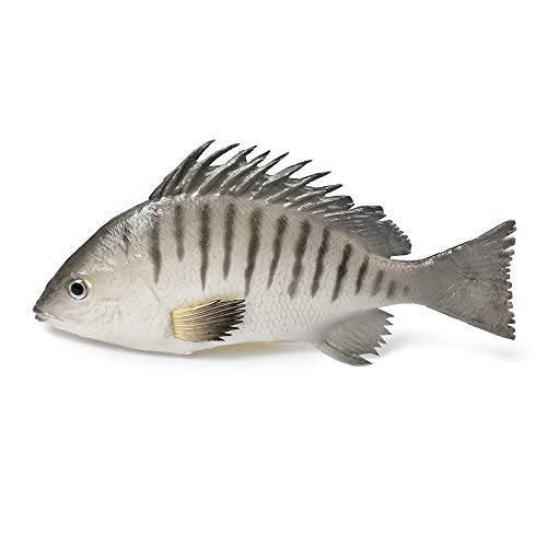 "Hagao Artificial Fish Gray Snapper Simulation Fish Decoration Fake Toy Model Playset Sea Creatures Lifelike Stick to Fish Tank for Home Party Christmas Display 9.5"" x 4.5"""