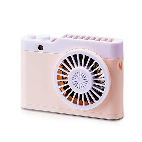 Domilay USB Rosa CáMara Recargable Ventilador PortáTil Ventilador PortáTil Deportes Al Aire Libre Colgante Cuello Ventilador