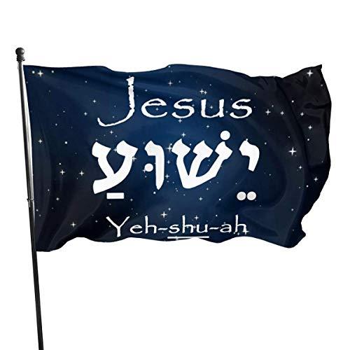N/A Hanging Flag Dekor,Flagge,Garten Banner,Fahne,Jesus Yeshua Hebräisch Polyester Flagge-Lebendige Farbe Und Uv-Lichtbeständig Für Den Außen-/Innenbereich 150X90Cm