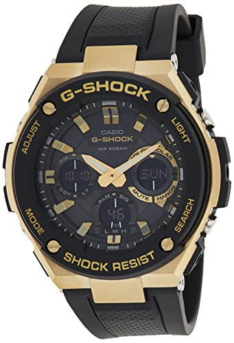 Casio G-Shock G-STEEL Series Solar Powered World Time Analog Digital Gold Black Resin Watch,...