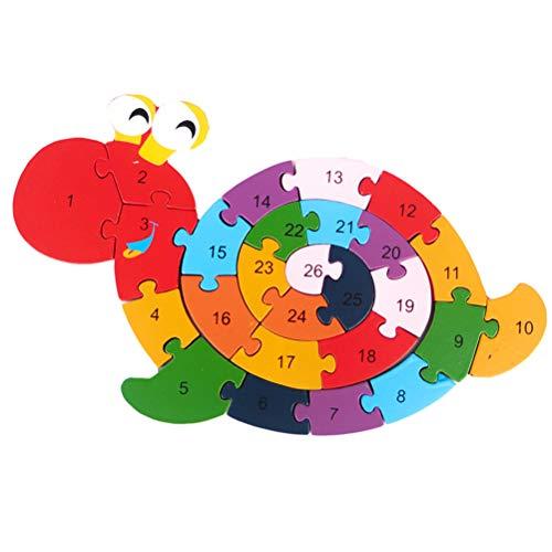 SayHia Bloques de madera Rompecabezas Rompecabezas Bobinado Caracol Juguetes Caracol Letra y Números Puzzles preescolar Juguetes educativos