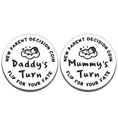 New Parents Gift for New Mom Dad Funny Decision Coin for First Time Mommy Daddy to Be Expecting Mother New Baby Birthday Present for Pregnancy Women Men Double-Sided Father's Day Gifts by Lucullan Lepole