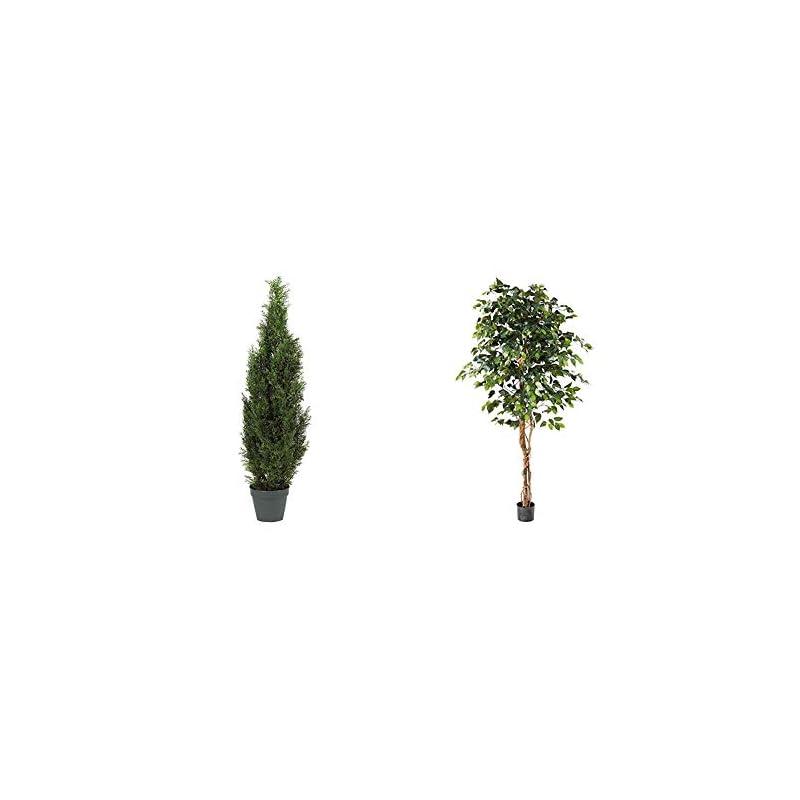 "silk flower arrangements nearly natural 5172 4ft. cedar tree silk tree (indoor/outdoor),green,49.5"" x 9"" x 9"" & natural 6ft. ficus artificial trees, 72in, green"