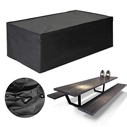 Cubierta protectora para muebles de jardín U / A, cubierta para mesa y silla de exterior, cubierta para muebles de terraza con protección UV, tamaño: 123 x 123 x 74 cm (negro)