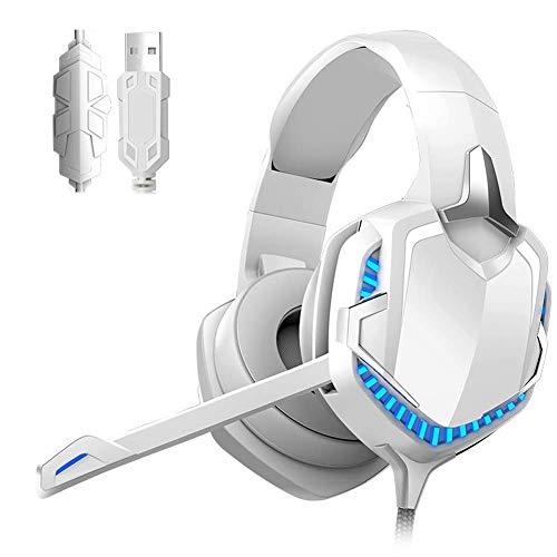 YAJIWU Kopfhörer, Gaming-Headset, PS4/PC/Tablet/Computerphone, Kopfhörer Stereo Over Ear, Bass 3,5 mm Mikrofon Geräuschunterdrückung, 7 LED-Lichter, weiche Memory-Ohrenschützer (Farbe: Weiß)