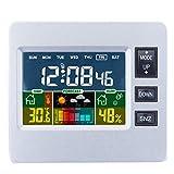Dciustfhe Estación meteorológica digital con pantalla LCD a color, previsión meteorológica, sensor interior, temperatura y humedad, despertador H306