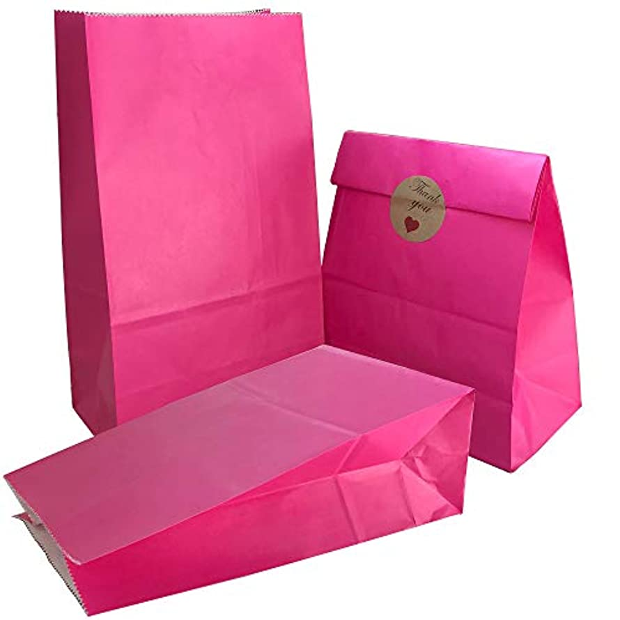 Party Bag 50 pcs Food Safe Kraft Paper and Ink, Natural (Biodegradable), Vivid Colored Candy Cookie Buffet Bags, Bottom Square Bag.Hot Pink.with 48 pcs Thank You Stickers 1.5 inch.