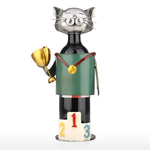 Hbao Champion Cat Wine Holder Vintage Pickup Cat Soporte para Botella de Vino Estatua o botellero Decorativo