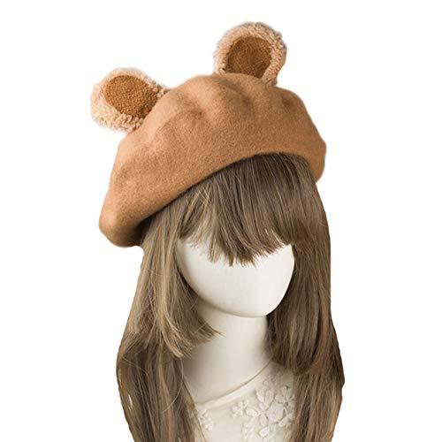 BLESSI Ladies Wool Antlers Beret Elegant Warm Casual Solid-Color Cute Beanie Hat Cap (Brown Ear)