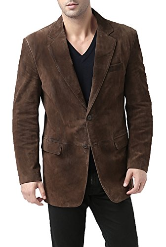 BGSD Men's Cliff 2-Button Suede Leather Blazer Brown Large