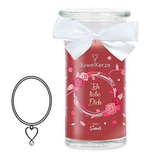 JuwelKerze Ich liebe Dich große Duftkerze (Rose, 1020g, 95-125 Std. Brenndauer) in Rot mit 925er Sterling Silber Schmuck mit Swarovski Kristall, Halskette