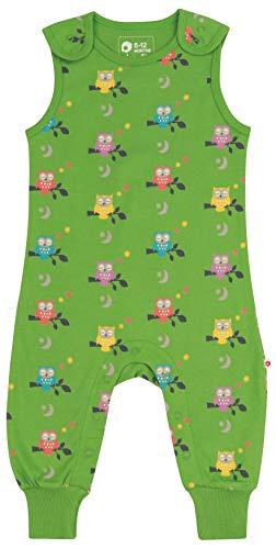 Piccalilly Weicher Latzhose für Babys und Kleinkinder, weicher Bio-Jersey, grüne Mitternacht-Eule Gr. 3-6 Monate, grün