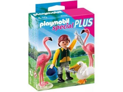 PLAYMOBIL - Cuidador de Zoo con pájaros exóticos, Set de Juego (4758)
