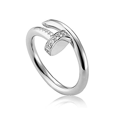 Helen de Lete Simple Rhinestone Nail Sterling Silver Open Ring-silver