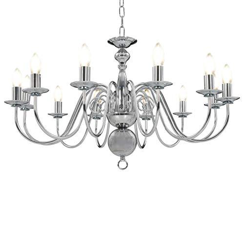 vidaXL Kroonluchter 12xE14 Zilverkleurig Plafondlamp Hanglamp Verlichting Lamp