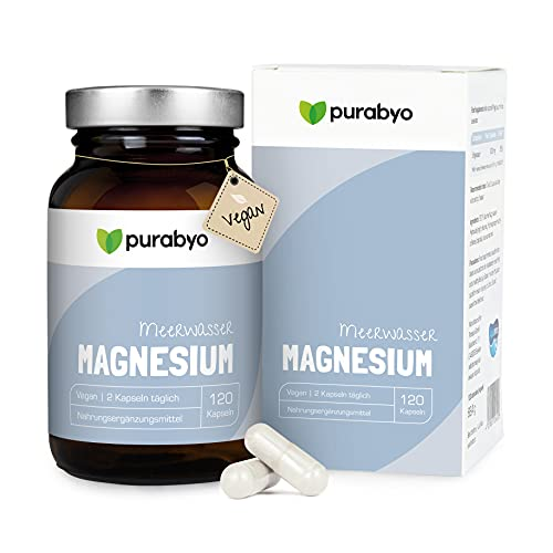 Aquamin MG Magnesio para agua de mar, complejo de magnesio | 300 mg por 2 cápsulas | 120 cápsulas | puro vegano y 100% natural