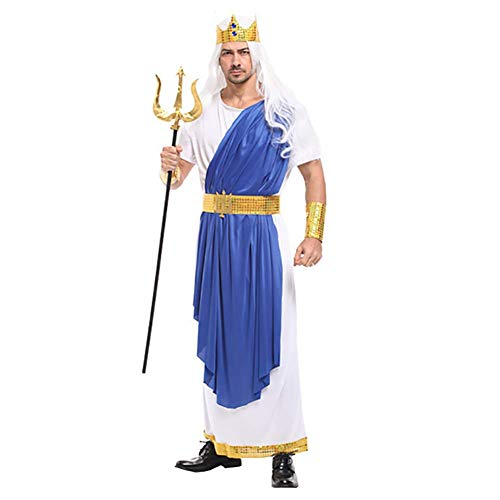 IFANSTYLE Poseidon blauw en wit pak Cosplay kostuum Halloween carnaval partij podium kostuum man volwassen klassieke pak