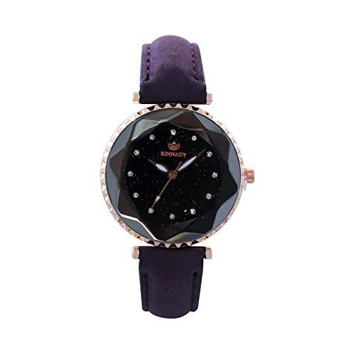 Sanwood Glitter Rhinestone Glass Round Dial Faux Leather Women Quartz Wrist...