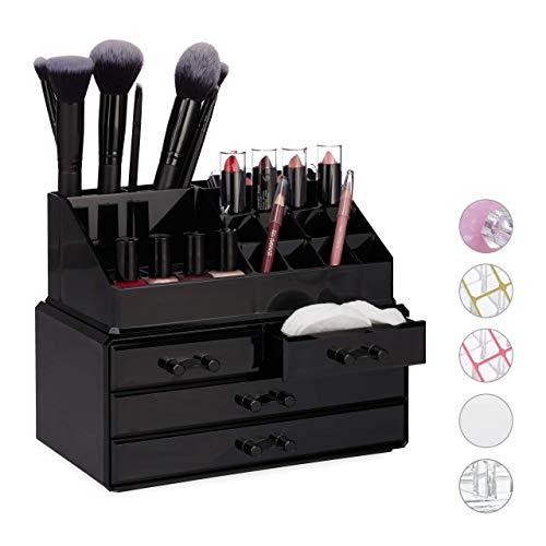 Relaxdays Make Up Organizer klein, 2-teilige Schmink Aufbewahrung Acryl, mit Lippenstifthalter und 4 Schubladen, schwarz