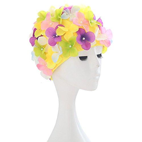 yookoon sintética Fashion flowal Swim Cap Para Adultos Mujer pétalos diseño a la Moda gorros de baño Piscina de agua para las mujeres gorro de natación Cap para pelo largo, Colorido