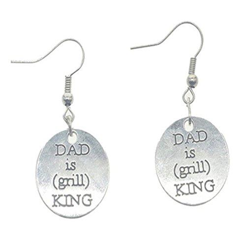 Papá es parrilla King pendientes parrilla regalo grabado encanto pendientes