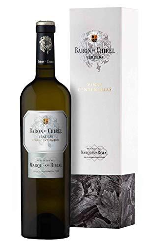 Barón de Chirel - Vino blanco Marqués de Riscal de la Tierra de Castilla y León, Variedad 100% Verdejo, Viñas centenarias - Botella individual 750 ml