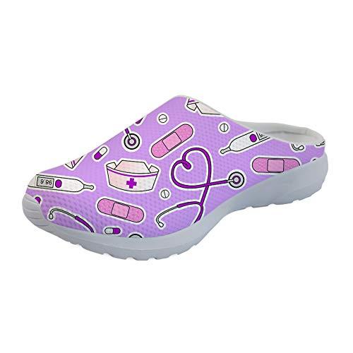 UOIMAG, Morado, Enfermera, Zapatos sin Cordones, Regalo para Mujer, Zapatillas de Enfermera, Sandalias Suaves, Zapatos Planos para Caminar 37EU