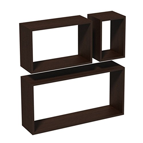 Wand-Regal-Set, Modulfächer, Regalsysteme, Hängeregale - FRS 600/380/170 - Wenge