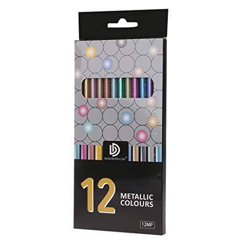 Youliy Lot de 12 crayons de couleur métalliques non toxiques pour dessin et croquis