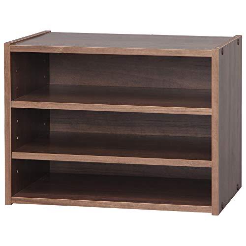 Marca Amazon - Movian Estante/unidad de almacenamiento apilable 3 pisos en madera - Caja de almacenamiento apilable de madera modular STB-400T - Roble marrón, 40 x 28,7 x 30,5 cm de ancho (531482)
