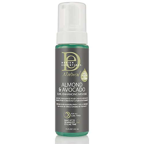 Design Essentials Natural Curl Enhancing Mousse, Quick Drying Must-Have for Perfectly Defined Luminous Curls-Almond & Avocado Collection, 7.5 Fl Oz