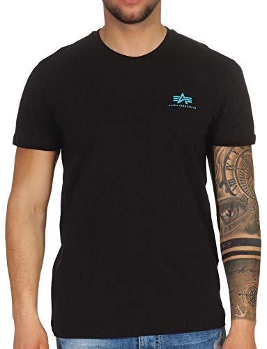 Alpha Industries T-Shirt Basic T Small Logo schwarz weiß blau grün rot Olive rot gelb braun grau (L, Black/Blue)
