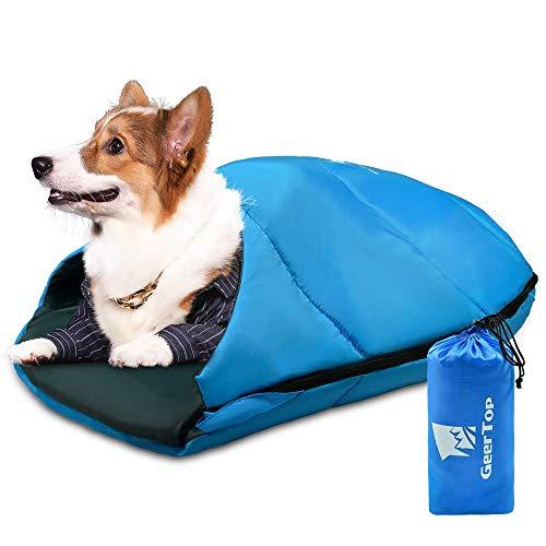 GEERTOP Hundeschlafsack Robustes, packbares Haustierschlafbett Bequemes waschbares, tragbares Haustierbett für Katzen und kleine Hunde - Hundebett für Camping Hiking Cottage Beach